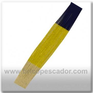Faldillín vinilo 20 fibras amarillo, azul, blanco y brillo (5unid.)