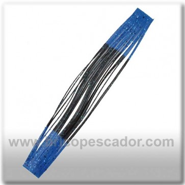 Faldillín vinilo 20 fibras negro, azul y brillo azul (5unid.)