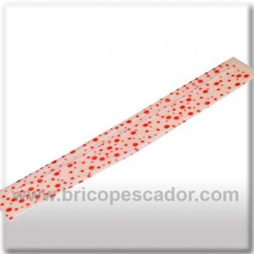 Faldillín vinilo 20 fibras blanco y puntos rojos (5 unid.)
