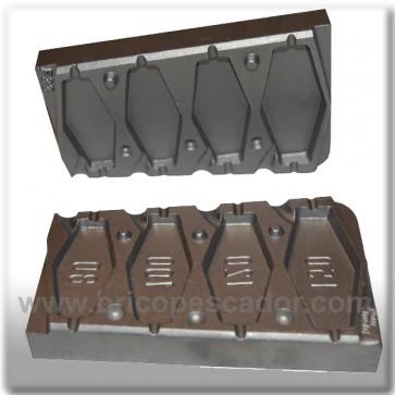 Molde de aluminio para plomada plano 80, 100, 120, 150 gr.