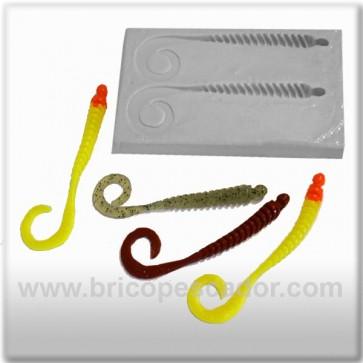 Molde artesanal lombriz costillas 12 cm.