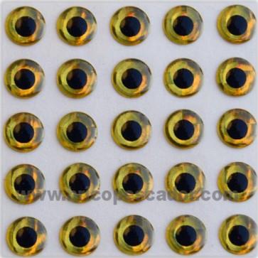 Ojos 3d oro 6 mm.