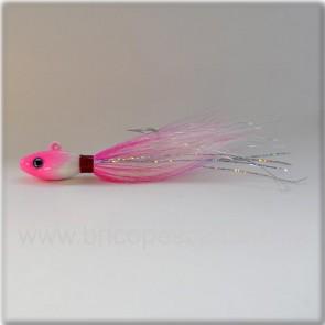 Señuelo artesanal Bullet bucktail 56 gr. rosa y blanco.
