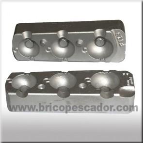 Molde de aluminio para 3 bolas con ojos de 50, 70 y 90 gr gramos