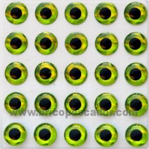 ojos 3d chartreusse 3mm.