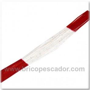 Faldillín vinilo 20 fibras rojo-blanco y brillos (5 unid.)