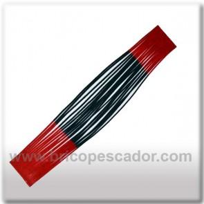 Faldillín vinilo 20 fibras negro, rojo y brillo rojo (5unid.)
