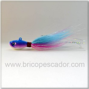 Señuelo artesal Minnow bucktail 56 gr. azul rosa y blanco