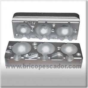 Molde de aluminio para 3 jigs esféricos de 120 a 180 gr gramos