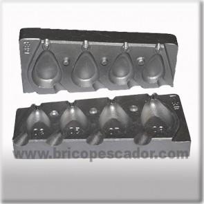 Molde de aluminio para plomada lágrima plano 30 a 80 gramos. Grapa.