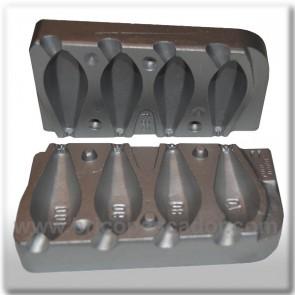 Molde de aluminio para plomada 70 - 100gr. Grapa.