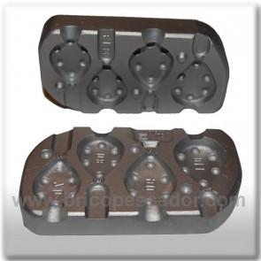 Molde de aluminio para plomada plano 70, 80, 90, 110 gramos.