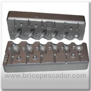 Molde de aluminio para jigs de plomo entre 6 y 18 gramos.