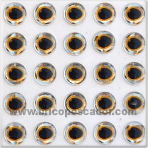 Ojos 3d asimétrico plata - oro 6 mm.