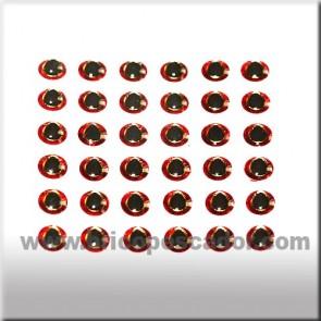 Ojos 3d asimétricos rojo-plata 3 mm.