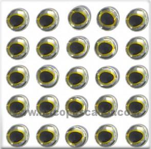 Ojos 3d asimétricos plata amarillo 9 mm.