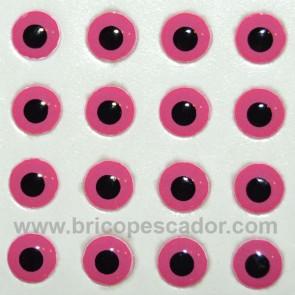 Ojos 3d rosa, 7 mm. pupila negra
