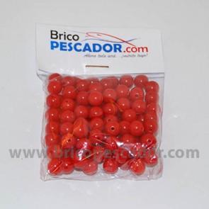 Perla perforada de 8 mm. Rojas