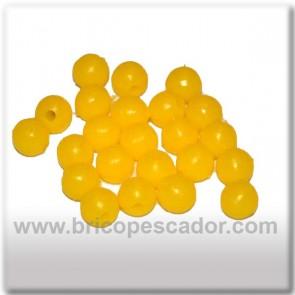 perlas perforadas amarillas