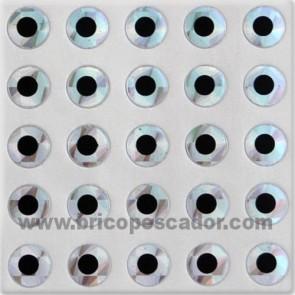 Ojos planos 12 mm. Plata