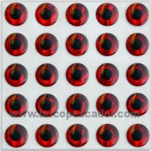 Ojos 3d rojo 3 mm.