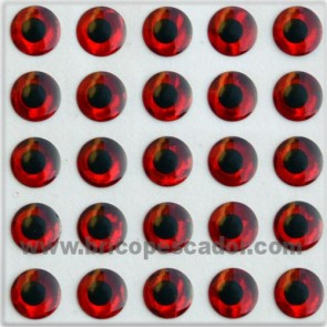 Ojos 3d rojos 7 mm.